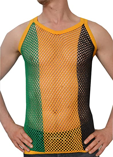 5747ef906eac95 Crystal Mens 100% Cotton Stripe Mesh Fishnet Fitted String Muscle Vest   Amazon.co.uk  Clothing