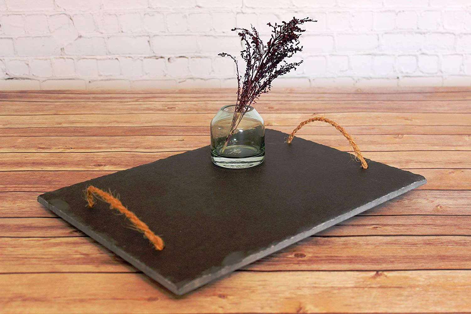 Black Slate Serving Tray With Handles, Farmhouse Tray, Wedding Gift, Engagement, Gift-for-Mother, Kitchen Decor, Birthday Gift, Anniversary + BONUS cheese pairing guide