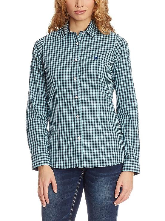 POLO CLUB Camisa Mujer Checks Azul Marino/Azul S: Amazon.es: Ropa ...