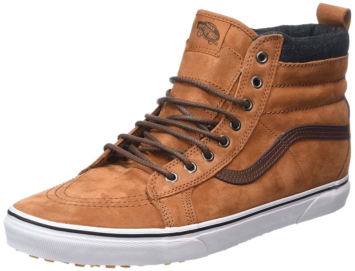 Vans Sk8-Hi Unisex Casual High-Top Skate Shoes, Comfortable and Durable in Signature Waffle Rubber Sole B019KVWXUY 8.5 M US Women / 7 M US Men|Glazed Ginger/Plaid