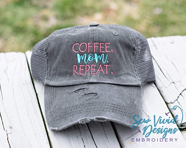 df93537f777 Image Unavailable. Image not available for. Color: Coffee Mom Repeat  Distressed High Ponytail Baseball or Trucker Hat Mom life Personalized Cap