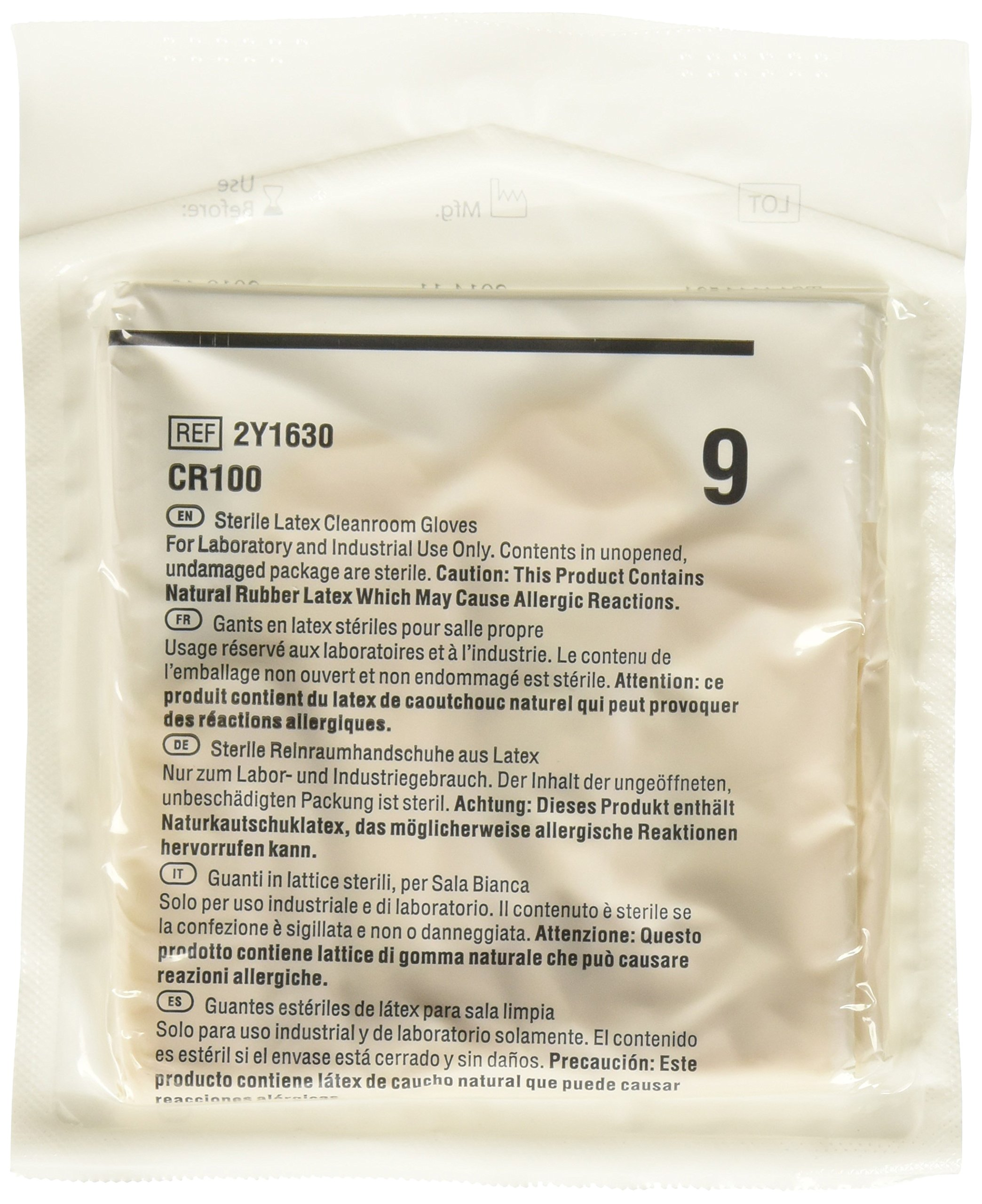 Cardinal Health 2Y1630 CR100 Latex Sterile Critical Environment Cleanroom Gloves, Size 9 (Case of 100)