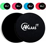 AKLAAS Fit x2 Core Sliders Exercise Gliding Discs Dual Sided | Use on Carpet, Hardwood Virtually Any Surface | Workout Sliders | Perfect Abdominal Exercise Equipment | 80 Day Obsession - Abs Booty