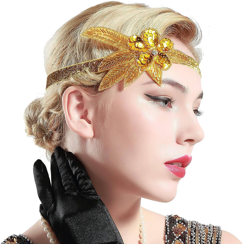 BABEYOND Bandeau Flapper Perle Headband Accessoires Gatsby Art des Années 1920 Mariage Cérémonies Accessoires de Cheveux Bandeaux Inspiré Feuille Couronne WHUK-blackheadband-golden-1