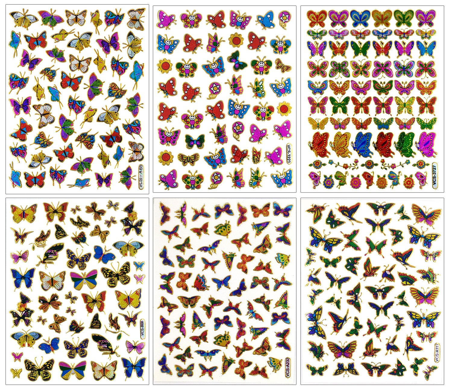 Butterfly003 - 6 Different Sheet Butterfly Glitter Gold Metallic Foil Reflective Craft Self-adhesive Sticker Decorative Scrapbook for Kid, Birthday Party, Card, Diary, Album Sticker108
