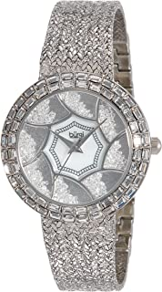 Burgi Womens BUR118SS Stainless Steel Watch with Textured Link Bracelet