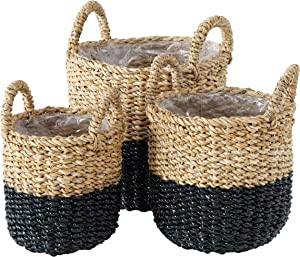 WHW Whole House Worlds Plastic Lined Seagrass Baskets, Set of 3, Paint Dipped in Beachy Grey, Chunky Weave, Rustic, Natural, Barrel Belly, Top Handles, 12.25, 11 and 9.75 Inches Tall