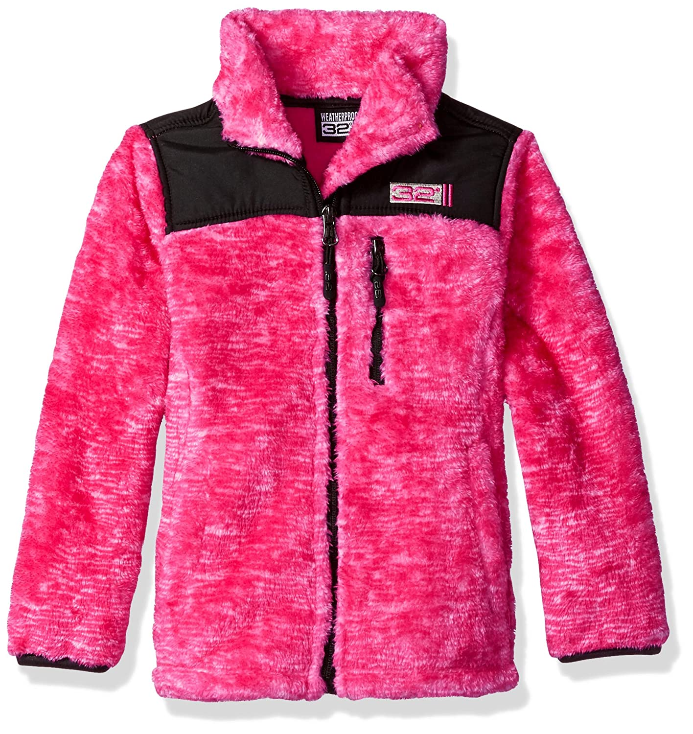 32 DEGREES Weatherproof Big Girls Outerwear Jacket (More Styles Available), Space Dye-WG197-Fuchsia, 14/16