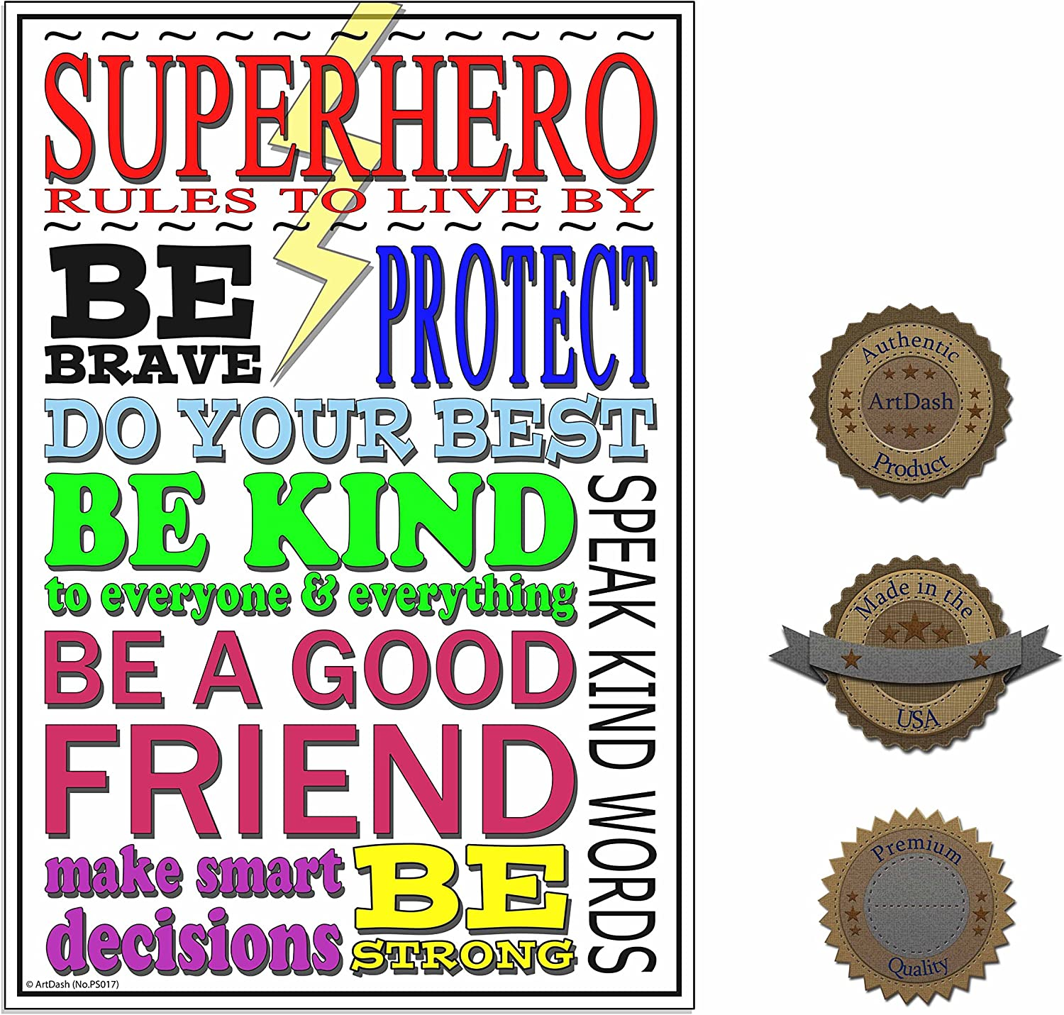 SUPERHERO RULES INSPIRATIONAL MOTIVATIONAL POSTER PRINT PICTURE