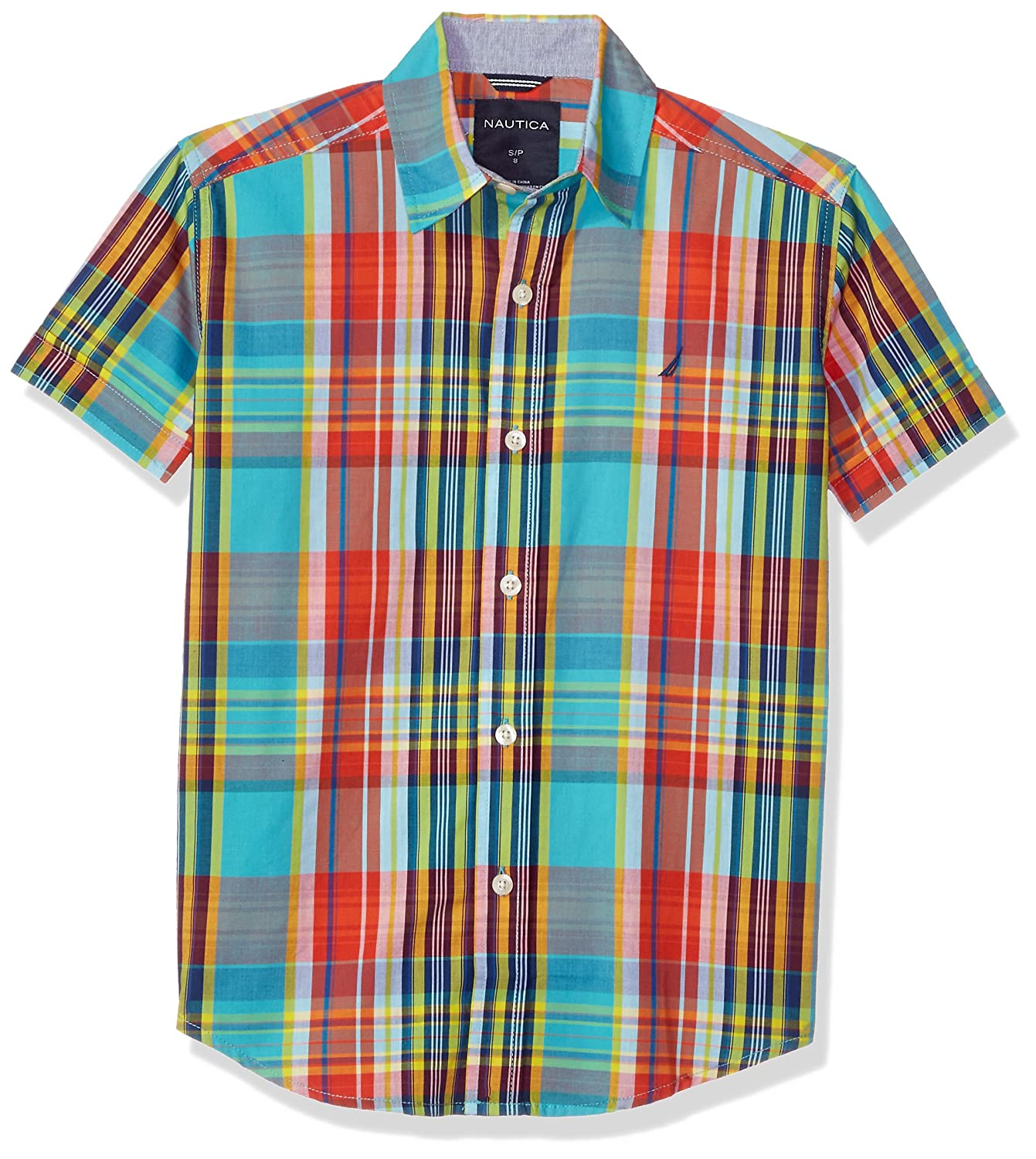 Nautica Boys Short Sleeve Plaid Button Down Shirt with Stretch