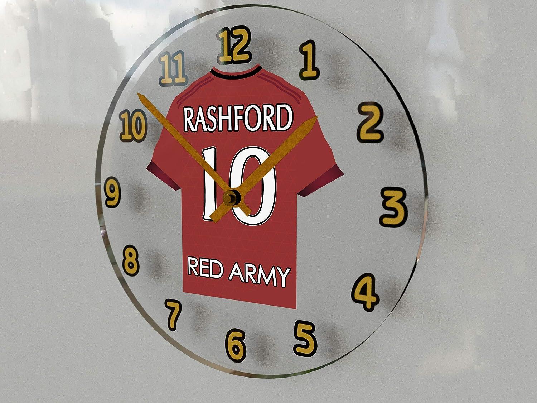 FOOTBALL LEGENDS LIMITED EDITION FanPlastic MARCUS RASHFORD 10 MANCHESTER UNITED FC FOOTBALL WALL CLOCK