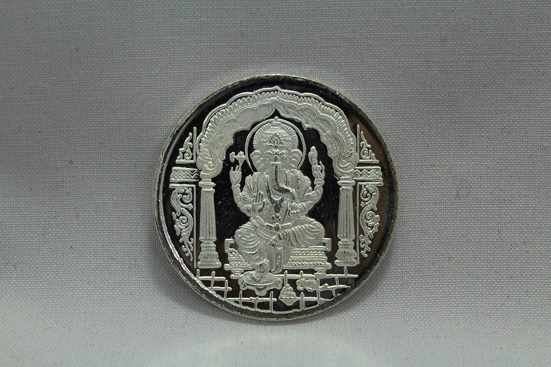 Rajasthan gems Religiious 999 Moneda de Plata Fina con Texto en ingl/és India God Lord Ganesha Om with Box Gift