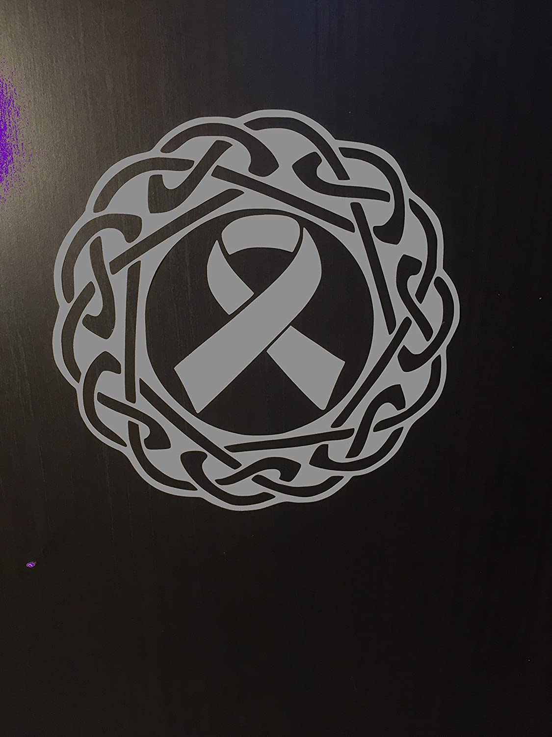 Amazon com gray awareness ribbon celtic knot window decal brain tumor brain cancer allergies aphasia asthma diabetes parkinsons everything else