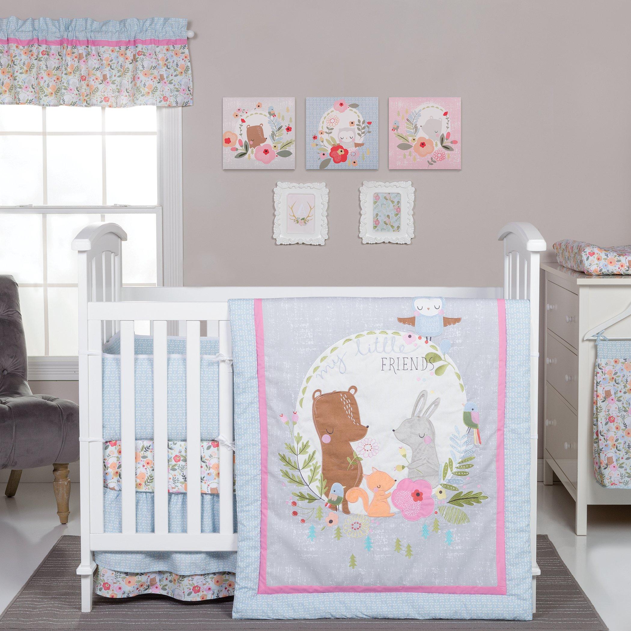 Trend Lab My Little Friends 6 Piece Crib Bedding Set, Blue/Pink/Brown/Gray