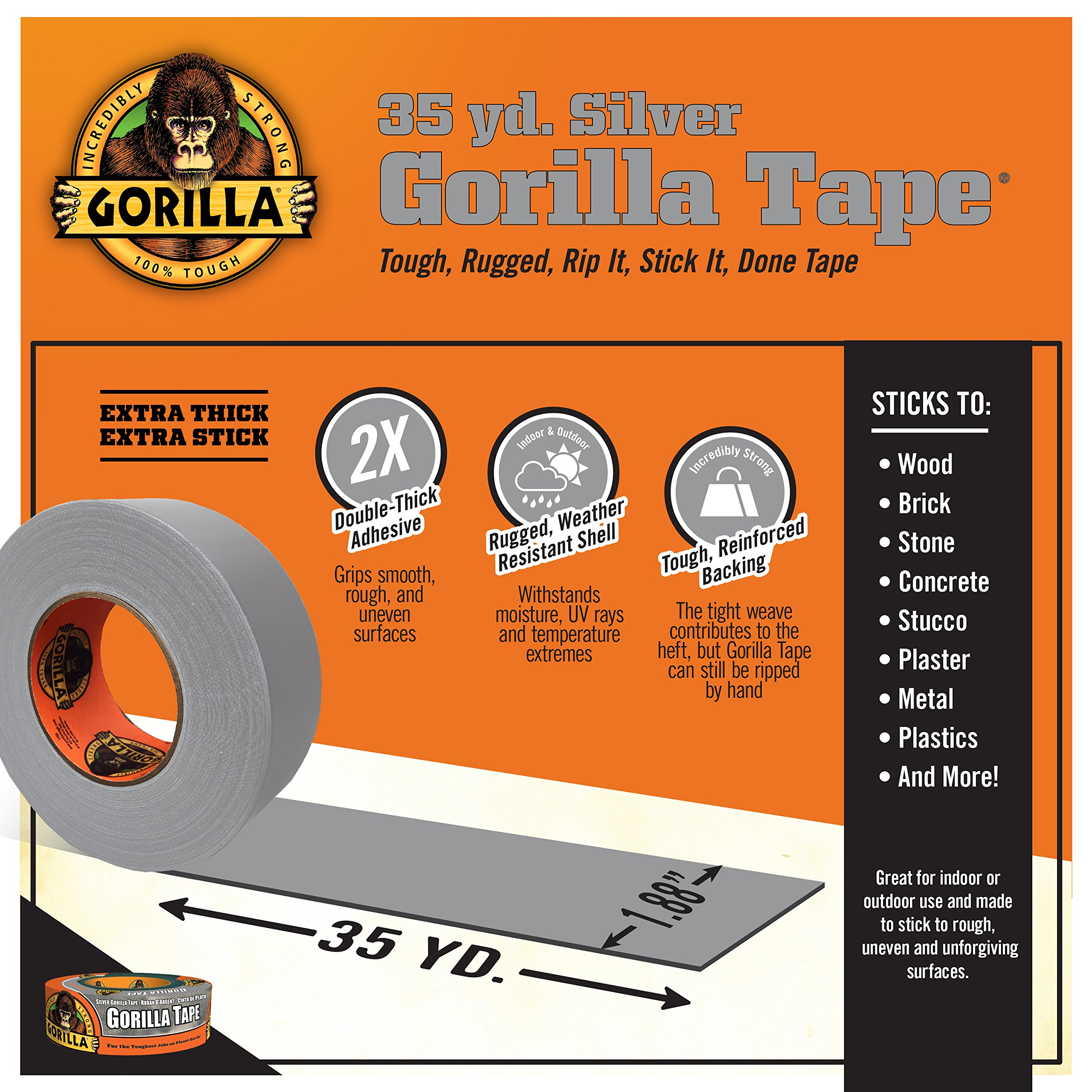 Gorilla Tape, Silver Duct Tape, 1.88'' x 35 yd, Silver, (Bulk Pack of 18) by Gorilla (Image #3)