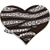 ACCESSORIESFOREVER Women Modern Fashion Polished Animal Veined Pattern Heart Stretch Ring R009 Black