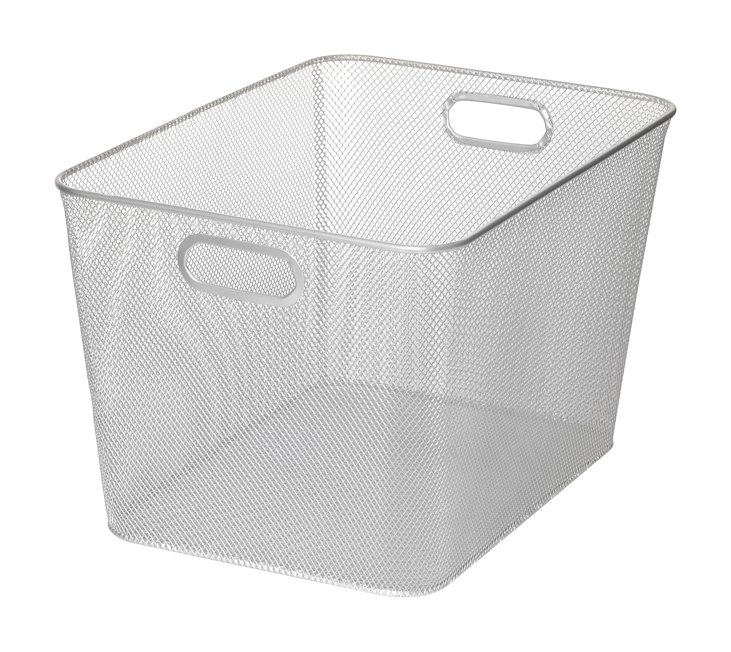 Silver Mesh Open Bin Storage Basket for Cleaning Supplies Laundry Etc. Size 14x10x9 Model #1115 by Ybmhome