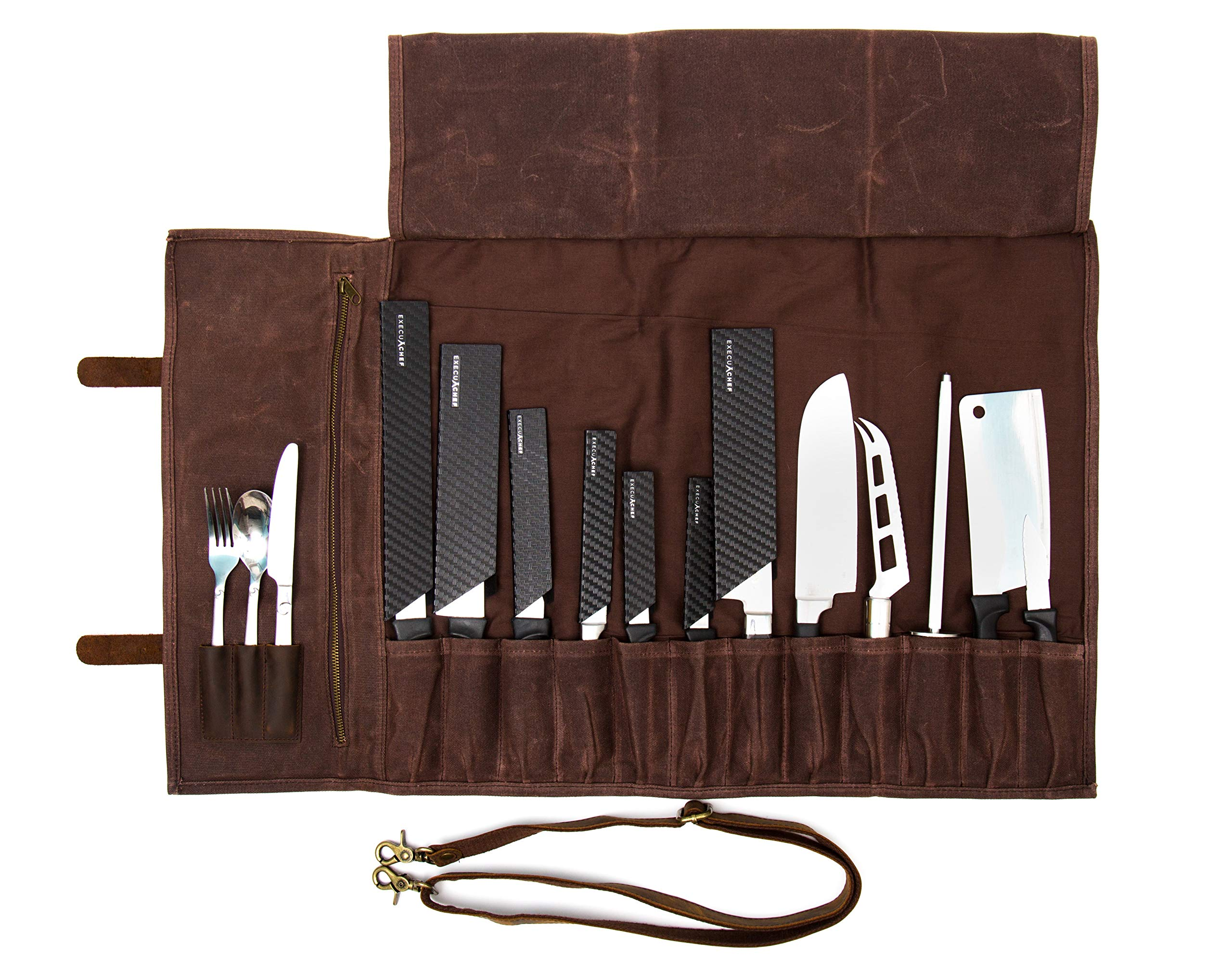 ExecuChef Waxed Canvas Knife Roll | 15 Knife Slots, Card Holder and a Large Zippered Pocket | Genuine Top Grain Leather, Cloth and Brass Buckles | For Professional Chefs and Culinary Students (Brown) by ExecuChef