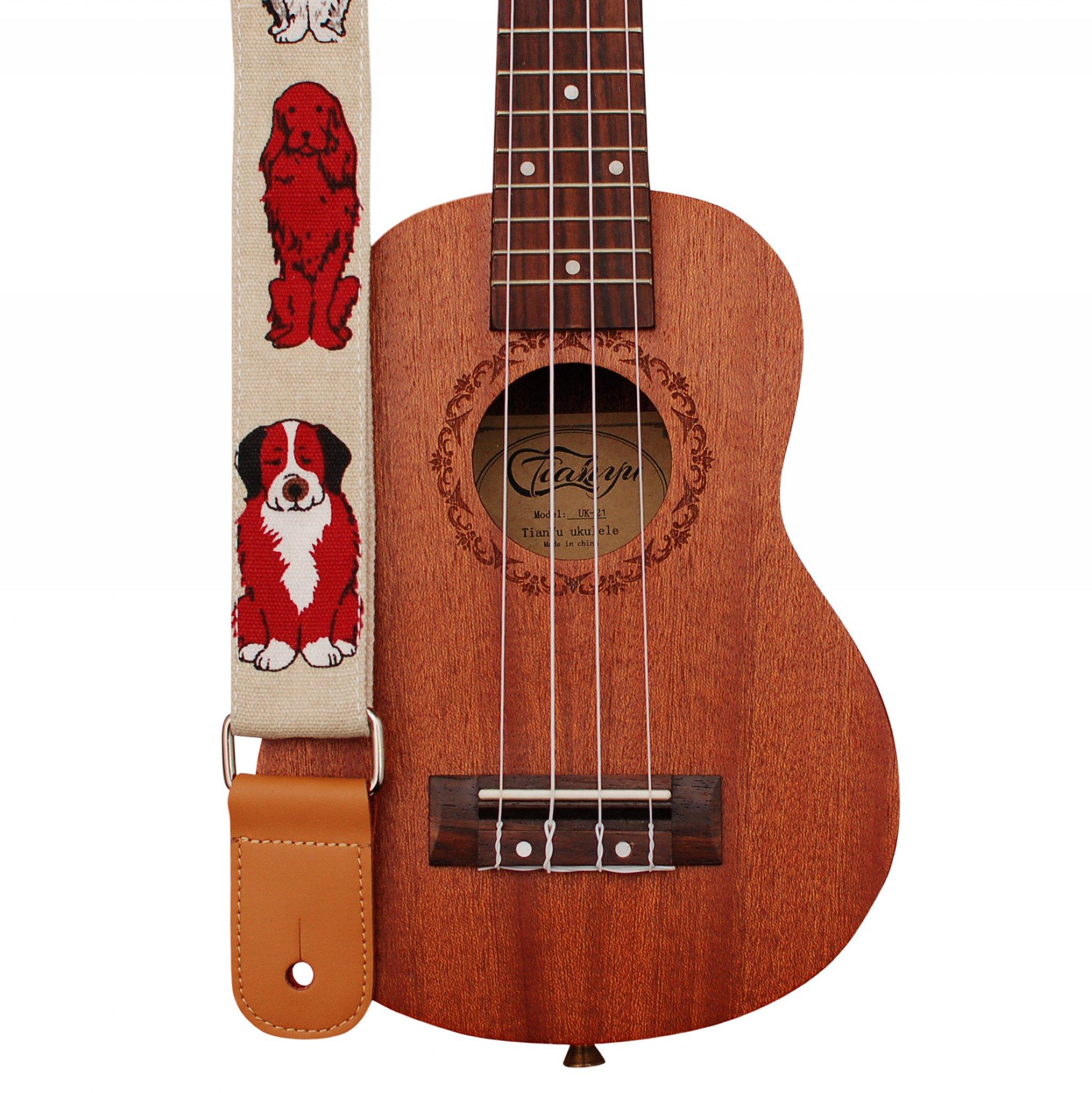"""MUSIC FIRST Original Design """"MR DOG"""" Soft Cotton & Genuine Leather Ukulele Strap Ukulele Shoulder Strap"""