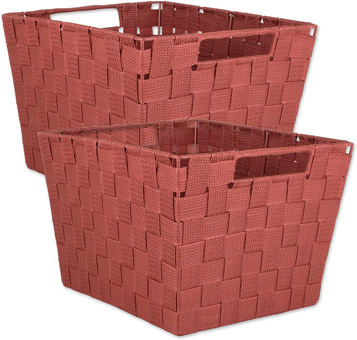 """DII Durable Trapezoid Woven Nylon Storage Bin or Basket for Organizing Your Home, Office, or Closets (Basket - 12x10x8"""") Rust - Set of 2"""