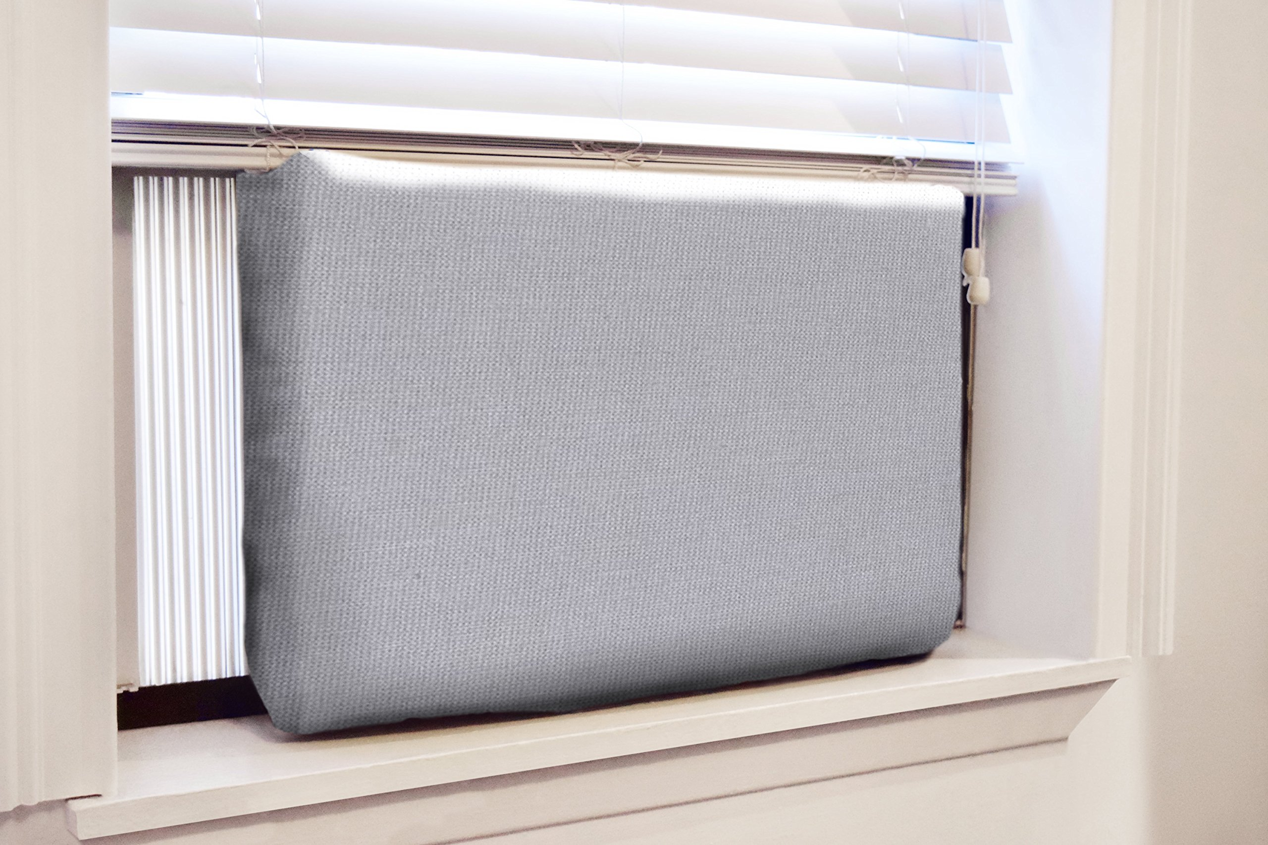 Gerrard Larriett Aromatherapy Pet Care Premium Quilted Indoor Air Conditioner Covers for Window Units 24'' W x 15'' H - Gray