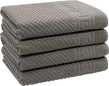 ZOLLNER Set of 4 Bath Towels with Waffle Pattern 100% Cotton 70 x 140 cm Grey: Amazon.de: Küche & Haushalt