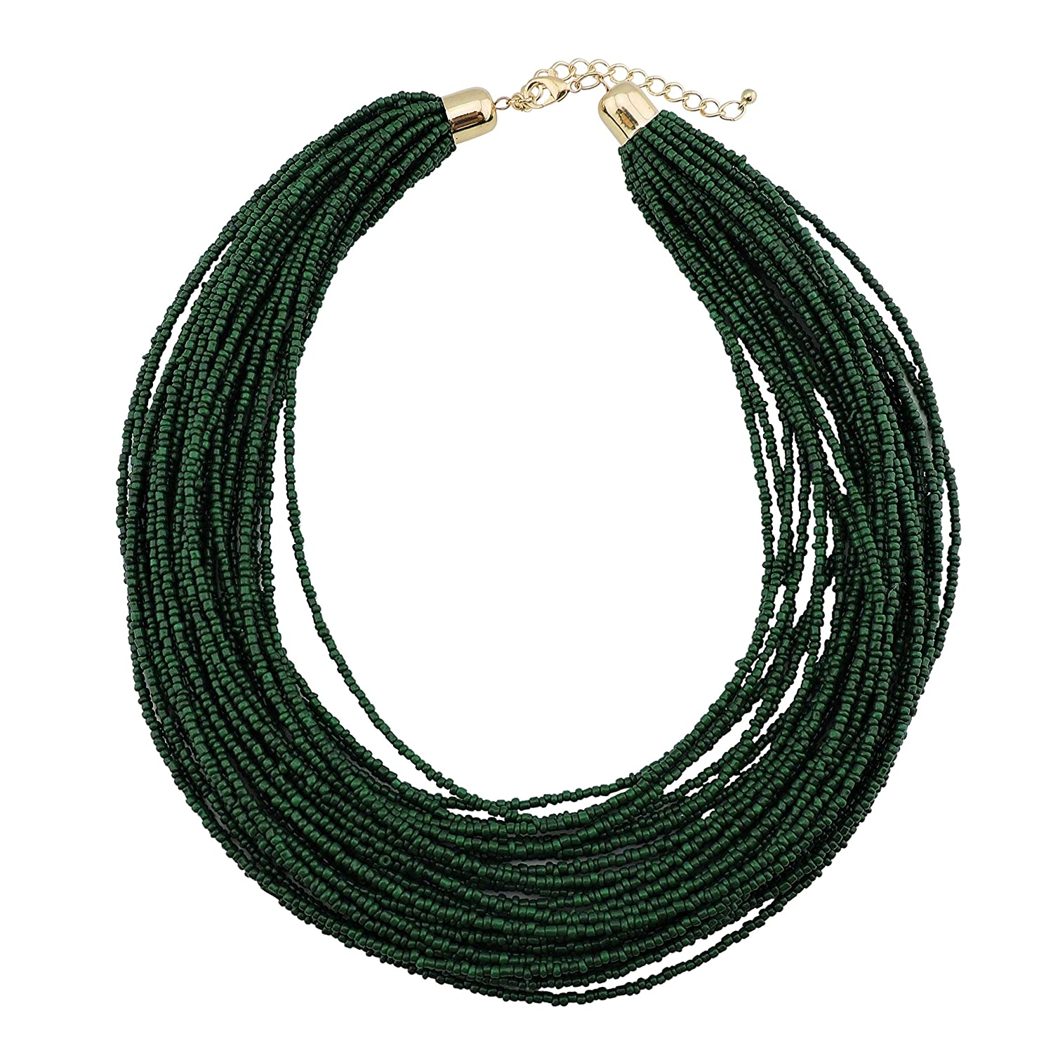 Bocar Multi Layer Chunky Bib Statement Seed Beads Cluster Collar Necklace for Women Gift