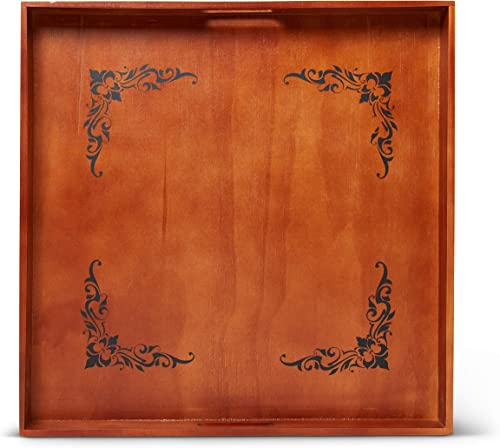 19×19 Beautifully Engraved Extra Large Ottoman Tray