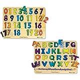 Melissa & Doug Sound Puzzles Set: Numbers and Alphabet - Wooden Peg Puzzles