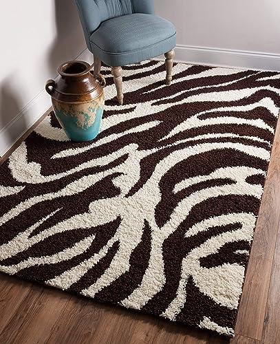 Well Woven Madison Shag Safari Zebra Brown Animal Print Area Rug 3 3 X 5 3