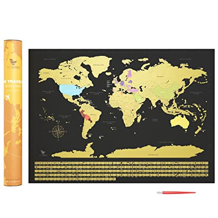 Amazon premium quality scratch off world map print with country premium quality scratch off world map print with country flags large black gold edition gumiabroncs Image collections