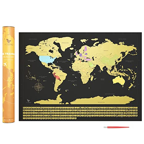 Premium Quality Scratch Off World Map Print With Country Flags U2013 Large  Black U0026 Gold Edition