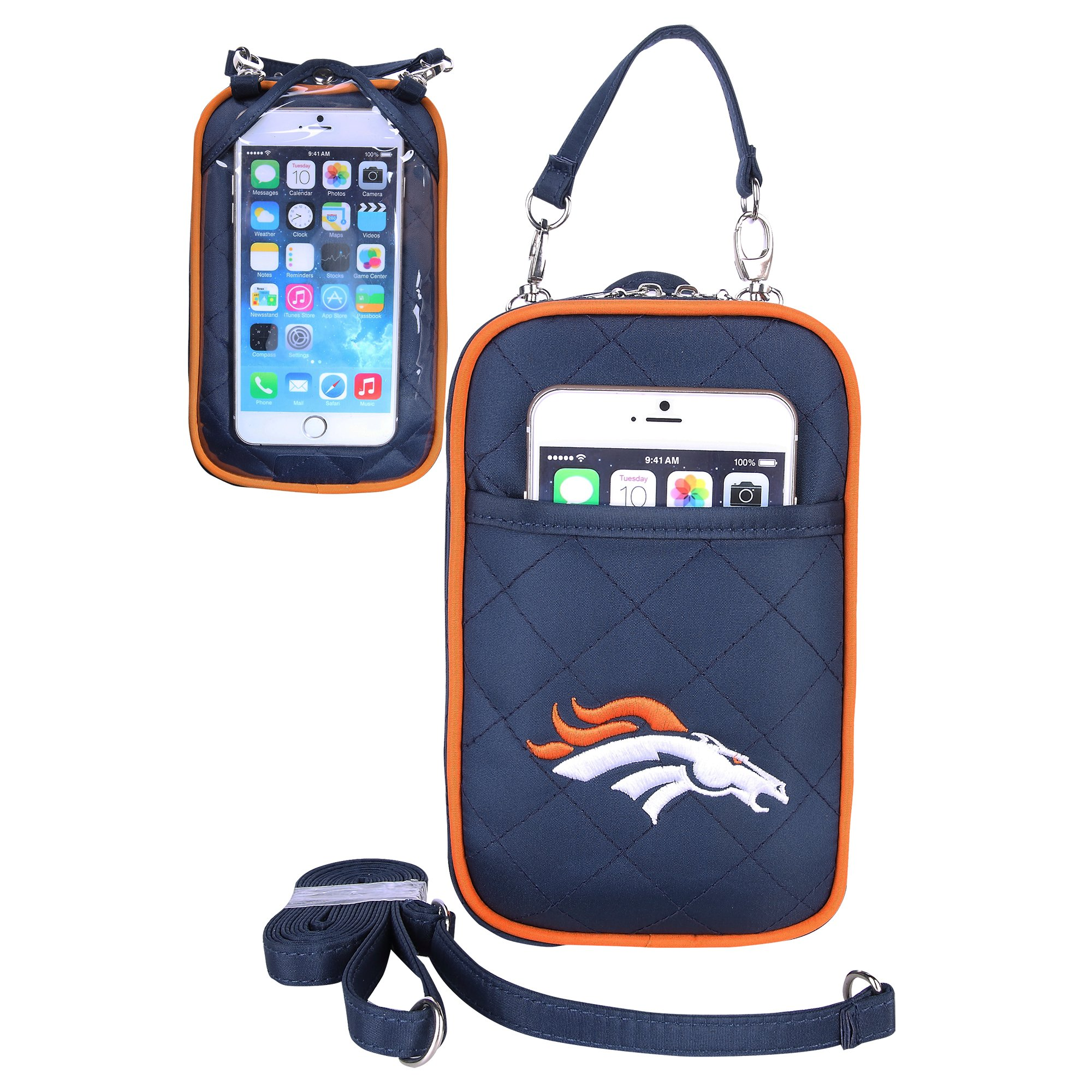 Charm14 NFL Denver Broncos Women's Crossbody Bag Quilt-Embroidered Logo-Fits All Phones by Little Earth