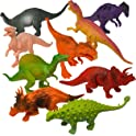 "12-Pack Prextex Realistic Looking 7"" Dinosaur Figures w/Dinosaur Book"