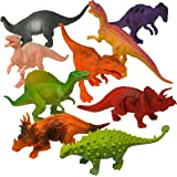 Prextex Plastic Assorted Dinosaur Figures with Dinosaur Book,7-Inch,Pack of 12
