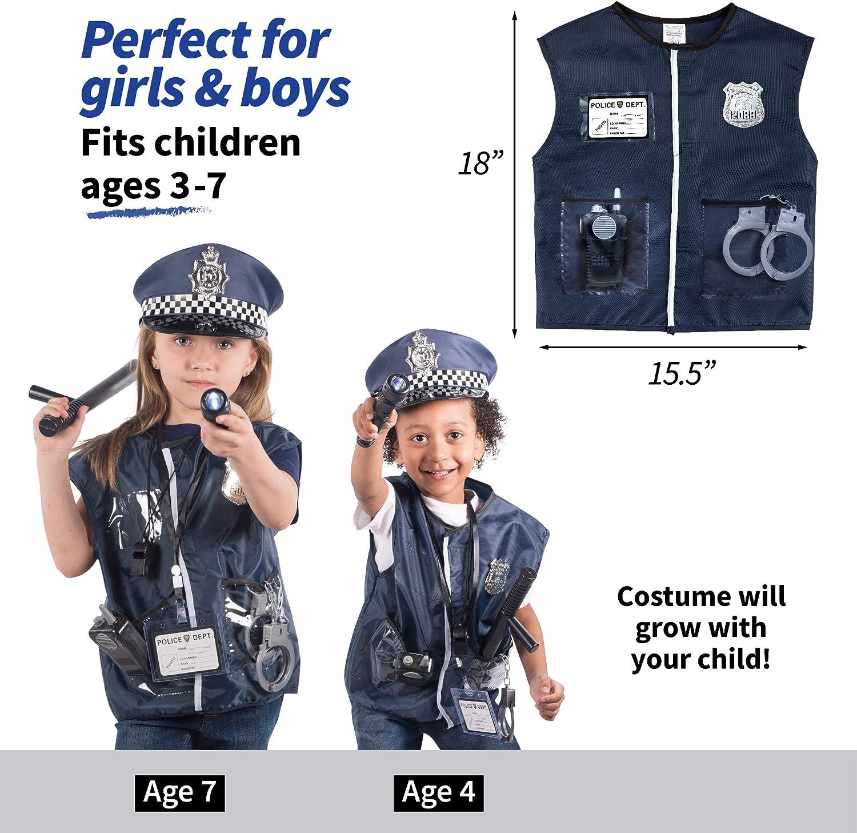 Torcia per Bambini per Costume da Poliziotto Born Toys 12 Pezzi Costume Polizia per Bambini con Kit di Giochi di Ruolo Giocattolo con Badge Polizia Manette