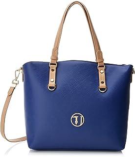 Trussardi Jeans Kuala Lumpur Ecoleather Orchid Print Shopping Bag, Sacs portés épaule femme, (Off White), 31.5x32x14 cm (W x H L)