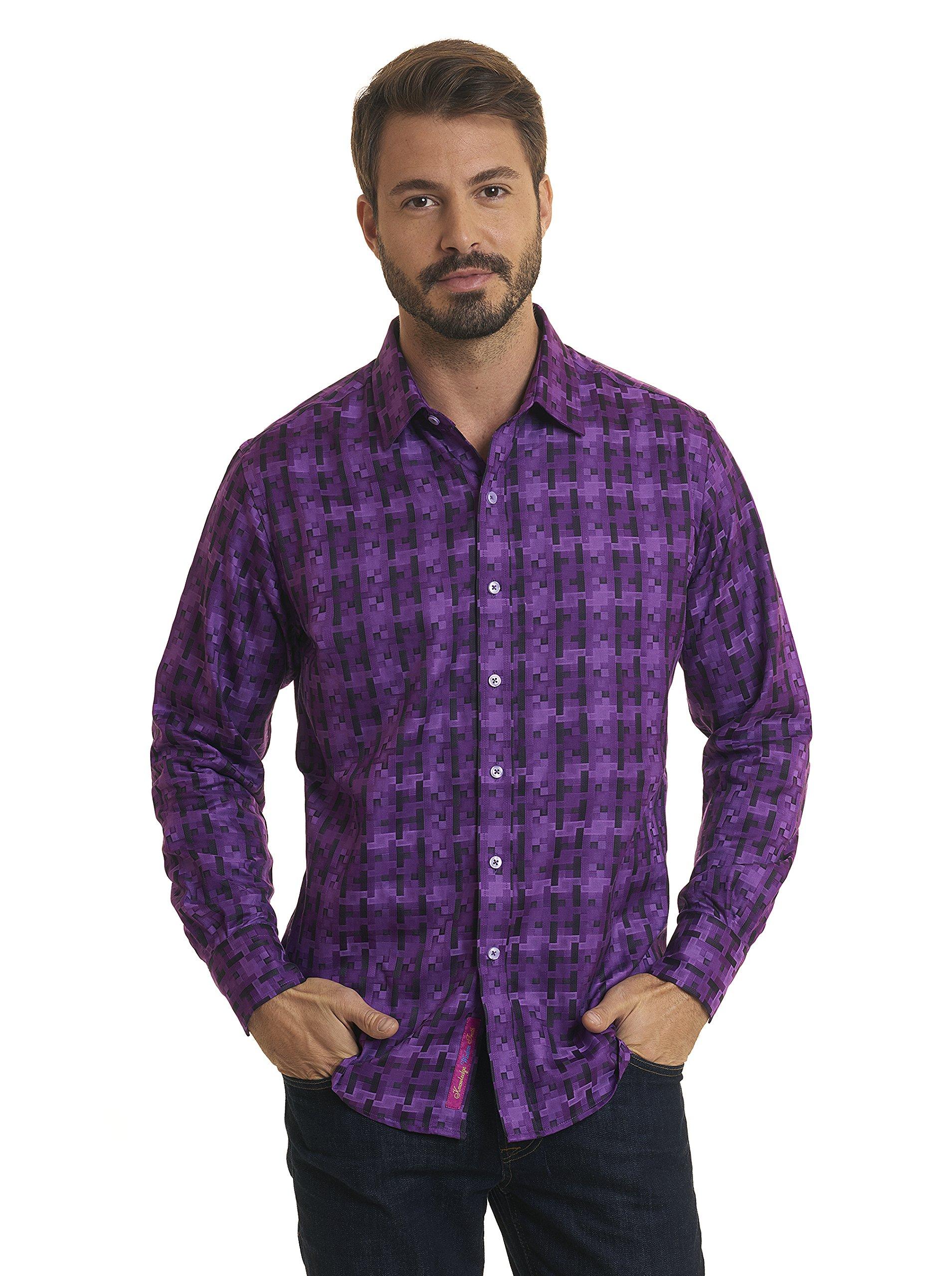 Robert Graham Pepy's Long Sleeve Purple Woven Shirt Classic Fit 2XL