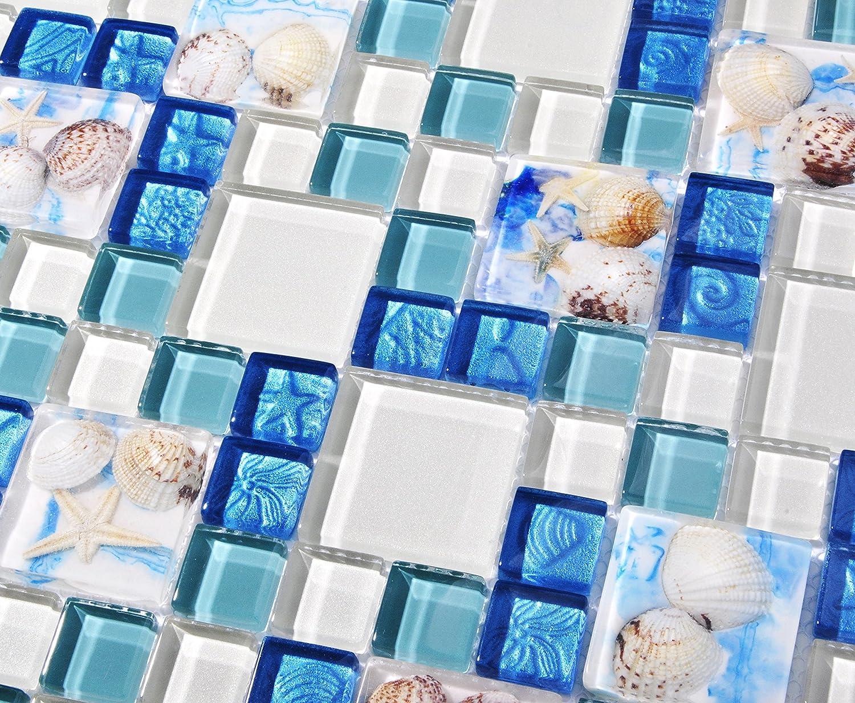 TST Mosaic Tiles Glass Conch Tiles Beach Style Sea Blue Glass Tile ...