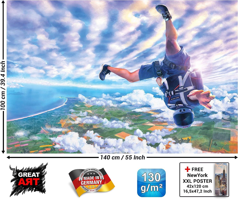 GREAT ART XXL P/óster/ 140 x 100 cm Aventura Mural Decoraci/ón Paracaidismo Skydiver Adventure Deporte Extremo Ca/ída de Adrenalina Ca/ída Libre Cartel de la Pared Foto Imagen Paracaidismo/