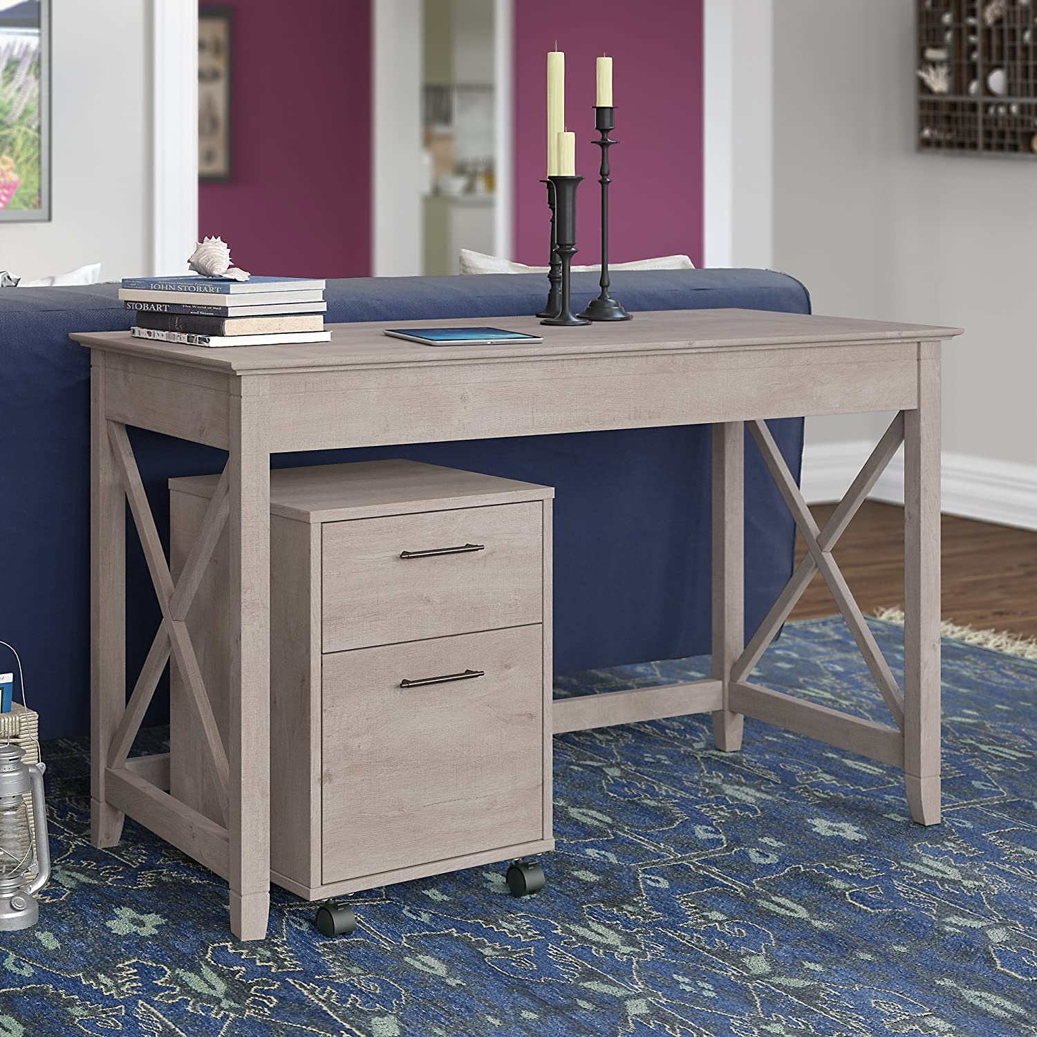 Bush Furniture Key West 48W Writing Desk with 2 Drawer Mobile File Cabinet in Washed Gray