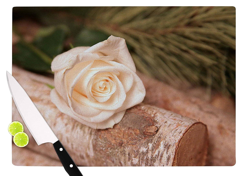 Multicolor KESS InHouse Angie TurnerRustic Romance White Green Cutting Board 11.5 x 15.75