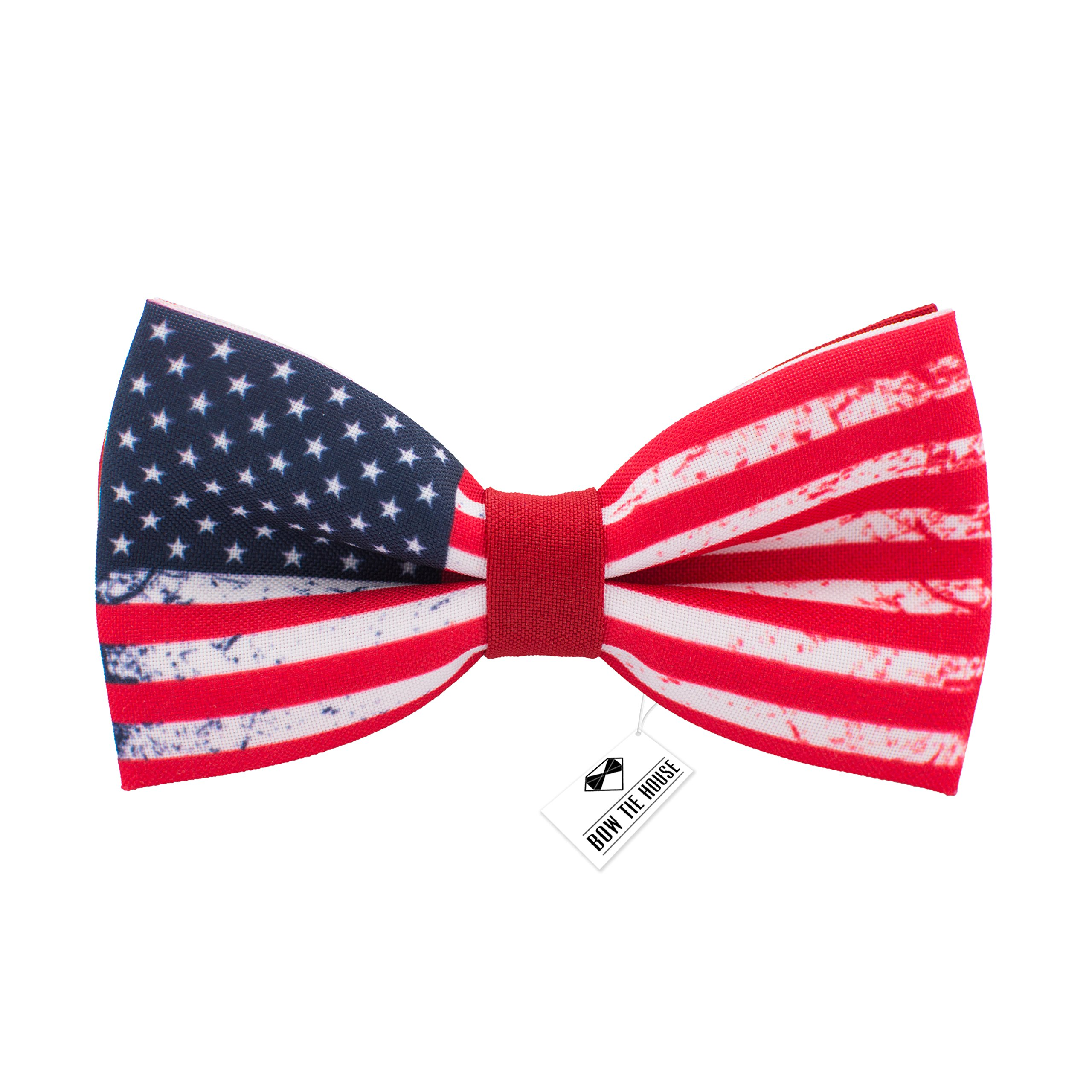 US flag bow tie 4th of July - pre-tied patriotic pattern+gift box, by Bow Tie House (Medium, Red)
