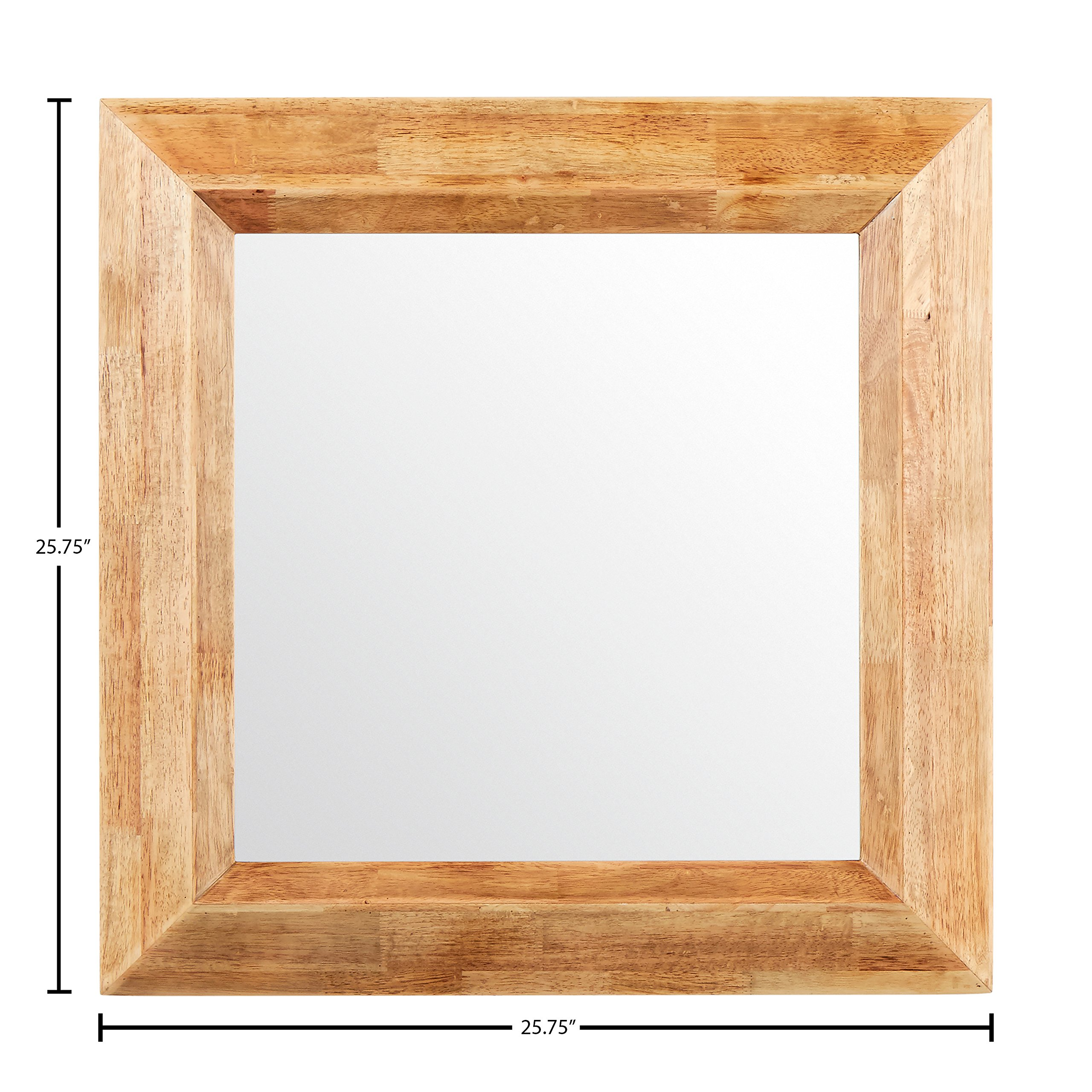 Stone & Beam Square Rustic Wood Frame Mirror, 25.75'' H, Natural by Stone & Beam (Image #5)