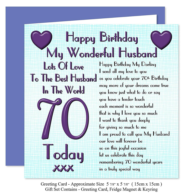 Husband 70th Happy Birthday Gift Set Card Keyring Fridge Magnet