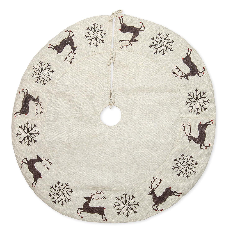48 inch Black Snowflakes and Reindeer on Cream Embroidered Christmas Tree Skirt Seasons Designs