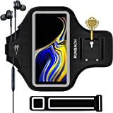 Galaxy Note 9 Armband,RUNBACH Sweatproof Running Exercise Gym Cellphone Sportband Bag with Fingerprint Touch/Key Holder and Card Slot for Samsung Galaxy Note 9 (Black)