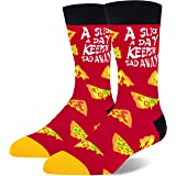 Men's Pixel Taco Alien Pizza Hamburger Socks, Funny Novelty Food Pattern Crew Party Socks Gift