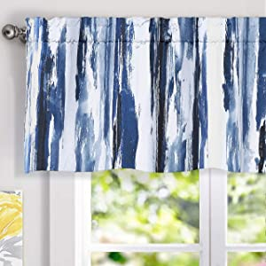 DriftAway Paint Brush Watercolor Ink Stripe Pattern Thermal Insulated Blackout Window Curtain Valance Rod Pocket 2 Layers 52 Inch by 18 Inch Plus 2 Inch Header Navy Blue 1 Pack