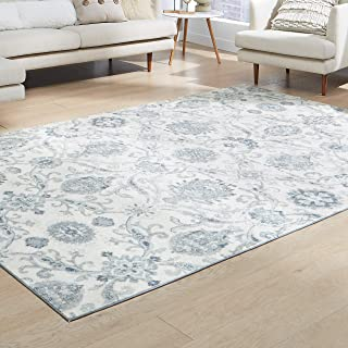 product image for Maples Rugs Blooming Damask Large Area Rugs Carpet for Living Room & Bedroom [Made in USA], 7 x 10, Grey/Blue